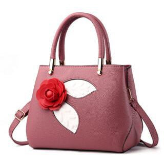 Women Pink Tote Messenger Handbag with Flower Front Side