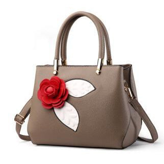 Women Khaki Tote Messenger Handbag with Flower Front Side