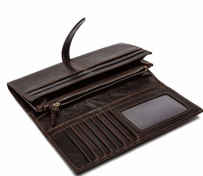 Top Notch Quality Brown Original Leather Casual Retro Style Long Wallet for Men