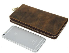 Coffee Color Genuine Leather Men Purse  with Superb Surface Vintage Finish