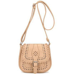 Beige Color Crossbody Messenger Handbag with Buckle Flap Closure Front
