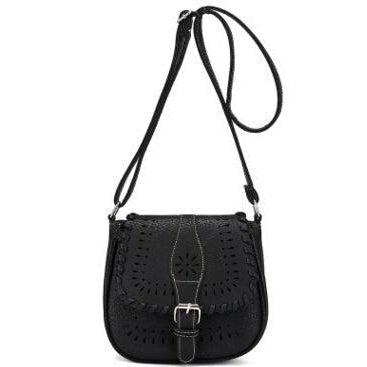 Black Color Crossbody Messenger Handbag with Buckle Flap Closure Front