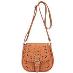 Light Brown Color Crossbody Messenger Handbag with Buckle Flap Closure Front