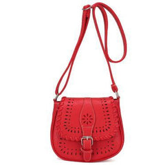 Red Color Crossbody Messenger Handbag with Buckle Flap Closure Front