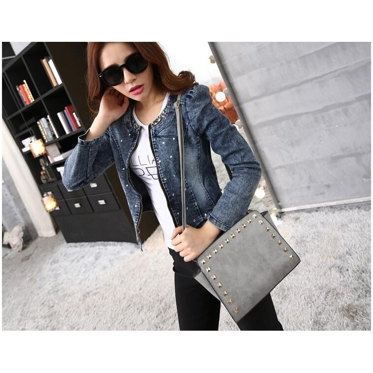 Women Grey Crossbody Sling Studded Leather Bag Lookbook