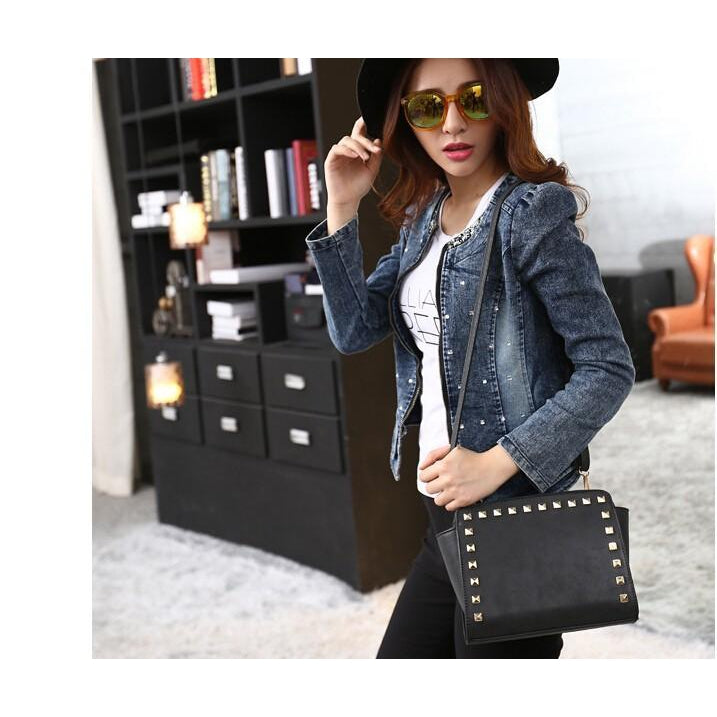 Women Black Crossbody Sling Studded Leather Bag Lookbook