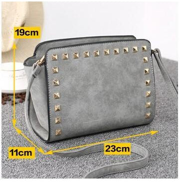 Women Grey Crossbody Sling Studded Leather Bag Dimensions