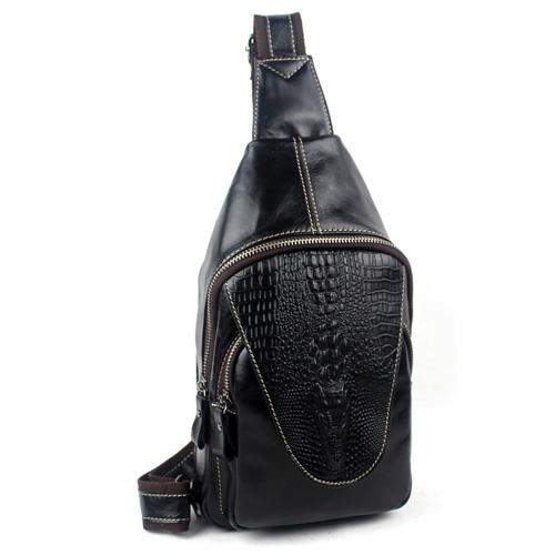 Alligator Pattern Unique Classic Style Leather Shoulder Bag for Men