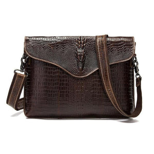 Genuine Leather Cross-body Professional Briefcase with Crocodile Style