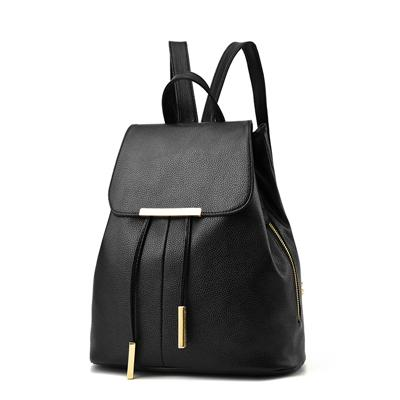 Women Black Travel Backpack Rucksack Faux-Leather Bag