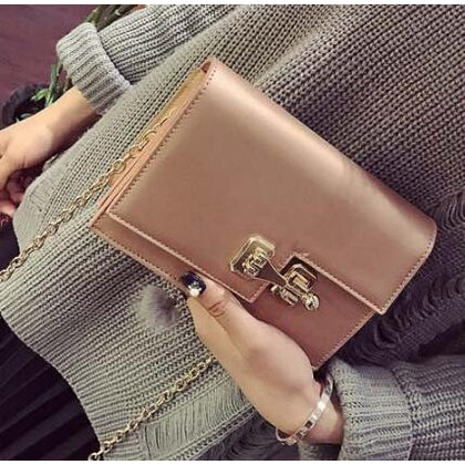 Women Baguette Sling wristlet Crossbody Messenger Faux-Leather Bag with Lock Style Design