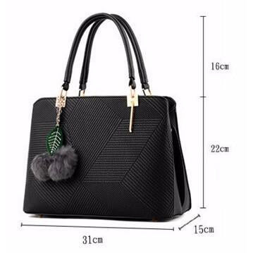 Women Black Tote Cross-Body Handbag Dimensions