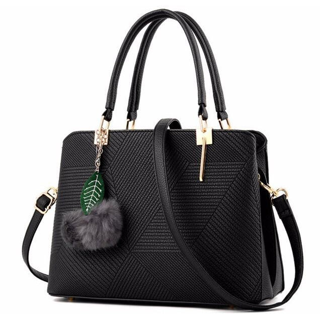 Women Black Tote Cross-Body Handbag Front