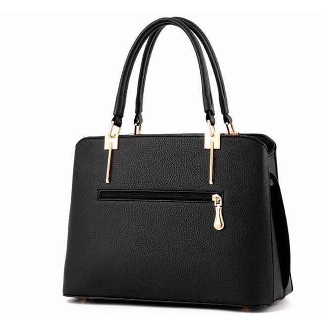 Women Black Tote Cross-Body Handbag Back