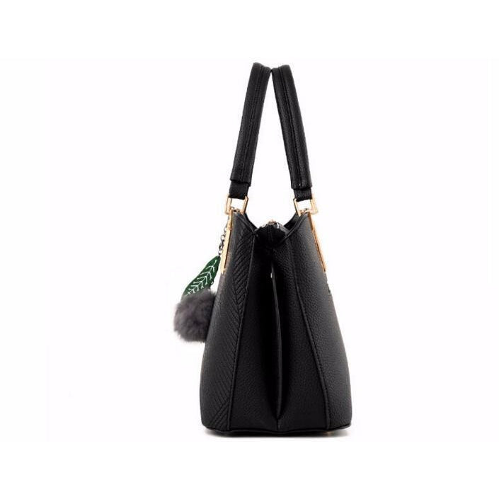 Women Black Tote Cross-Body Handbag Side