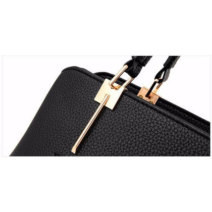 Women Black Tote Cross-Body Handbag Handle