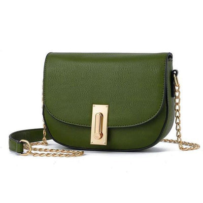 Women Green Saddle Tote Messenger Handbag with Magnetic Flap Closure