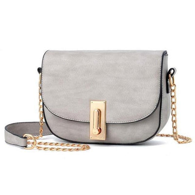 Women Grey Saddle Tote Messenger Handbag with Magnetic Flap Closure