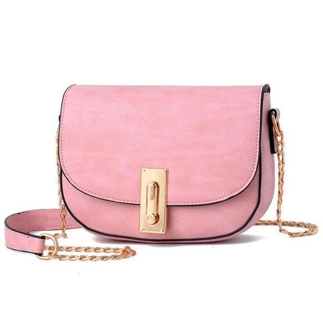 Women Pink Saddle Tote Messenger Handbag with Magnetic Flap Closure
