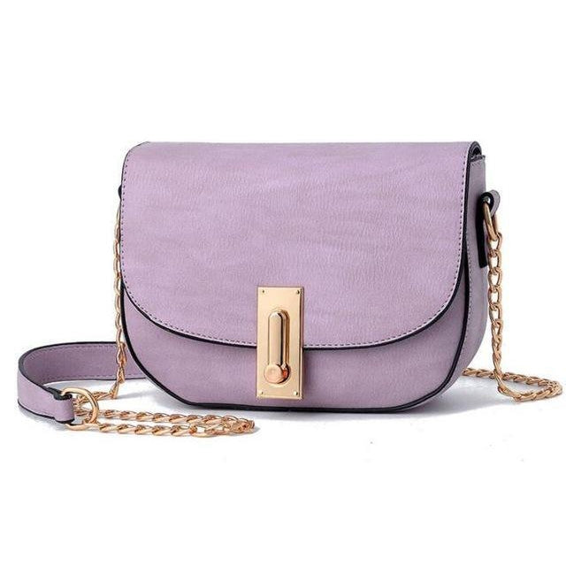Women Purple Saddle Tote Messenger Handbag with Magnetic Flap Closure