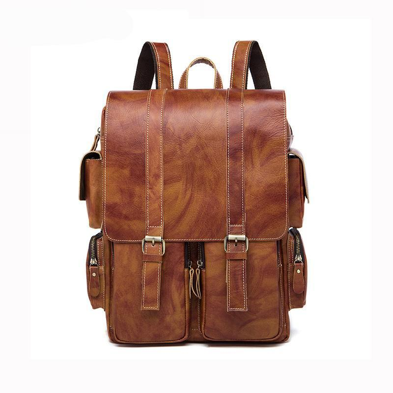 Men Multi-purpose and Spacious Distressed Brown Genuine Leather Backpack with a Belt Design
