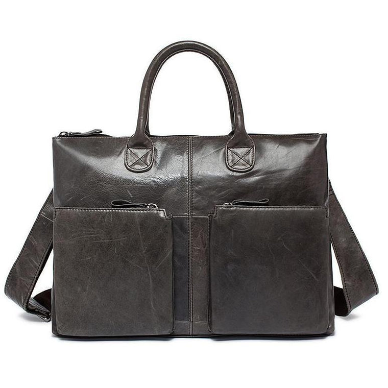 Supple and Elegant Tote Genuine Leather Business Shoulder Bag for Men