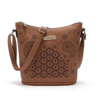 Women Brown Hobo Tote Shoulder Handbag with Beautiful Artwork