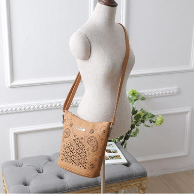 Women Yellow Apricot Hobo Tote Shoulder Handbag with Beautiful Artwork with Mannequin