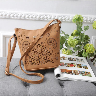 Women Yellow Apricot Hobo Tote Shoulder Handbag with magazine