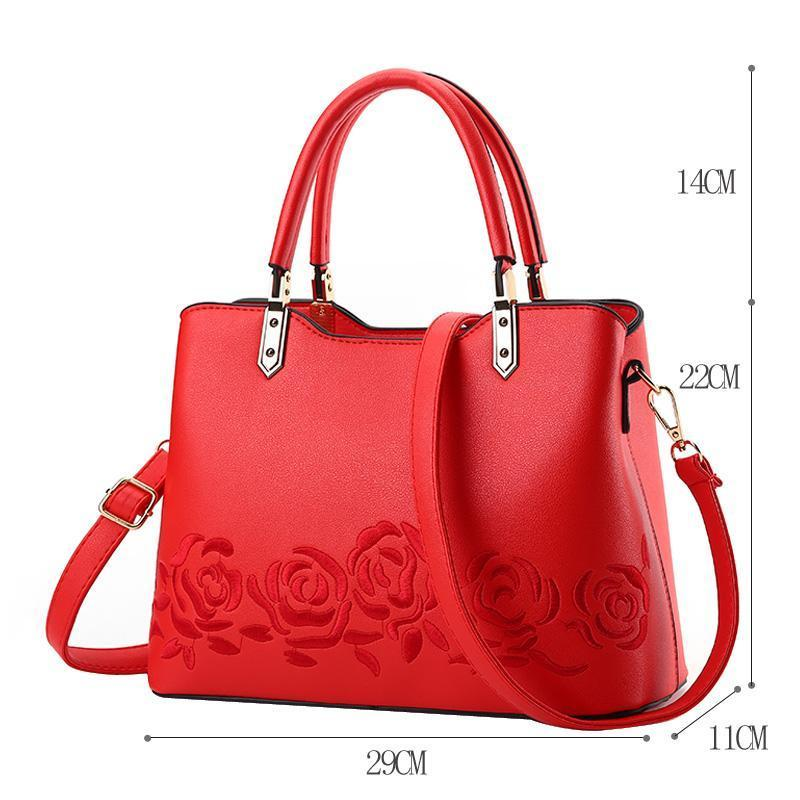 Women Premium Quality Leather Tote Messenger Crossbody Bag with Flower Embroidery
