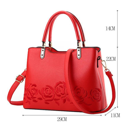 Women Premium Quality Faux-Leather Tote Messenger Crossbody Bag with Flower Embroidery