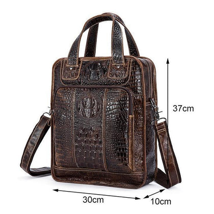 Men Alligator Style Tote Messenger Leather Handbag with a Laptop Compartment