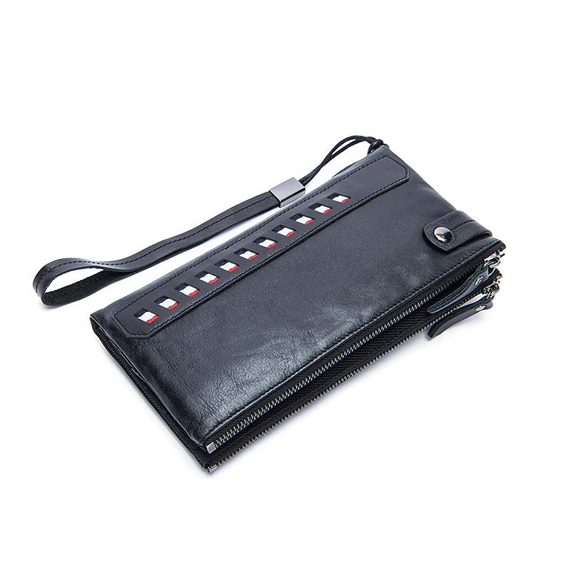 Men Coin and Card Holder Long Wallet Purse with Zipper Closure