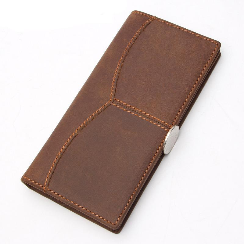 Men Classical Style Genuine Leather Wallet with Threading Handiwork
