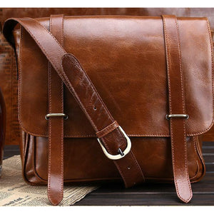 Men Brown Shoulder Strap Crossbody Vintage Messenger Leather Bag