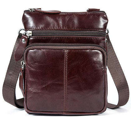 Men Crossbody Messenger Cow Leather Bag with Zipper Pockets