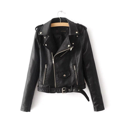 Women Black Brando Belted Leather Jacket with Shoulder Epaulettes