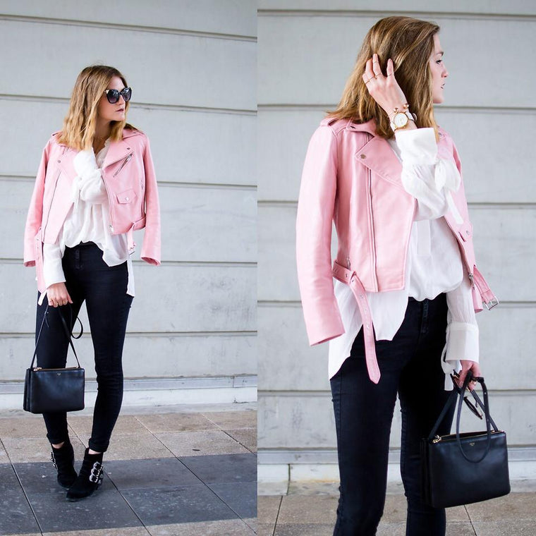 Women Pink Brando Belted Leather Jacket with Shoulder Epaulettes