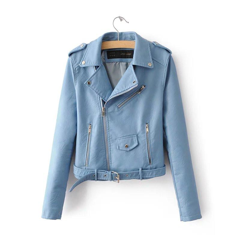 Women Sky Blue Brando Belted Leather Jacket with Shoulder Epaulettes