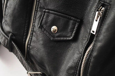 Front Pocket of Black Leather Jacket
