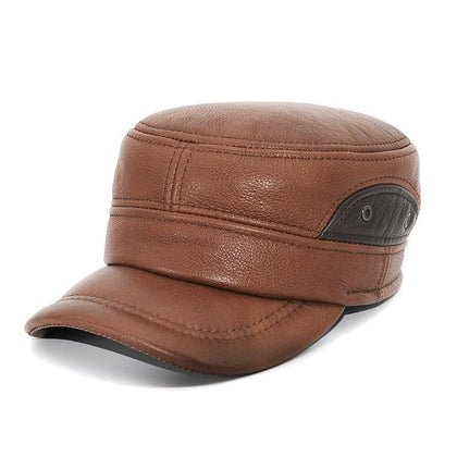 Men Leather Dual Brown Military Baseball Golf Cap