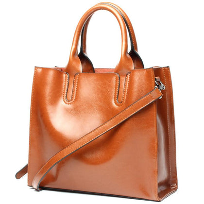 Women Brown Tote Crossbody Messenger Genuine Leather Bag Main Front View