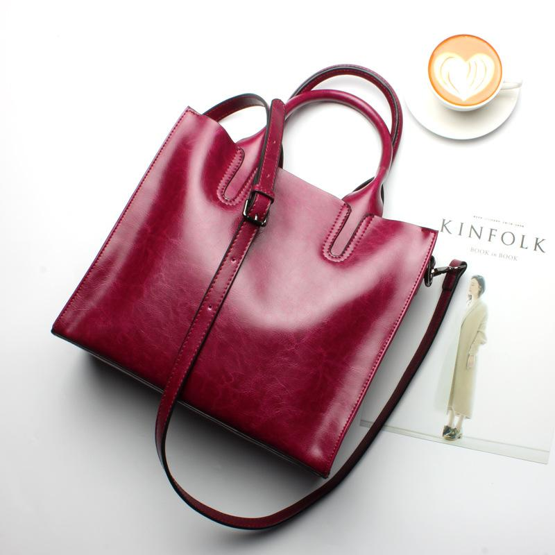 Women Red Maroon Tote Crossbody Messenger Genuine Leather Bag