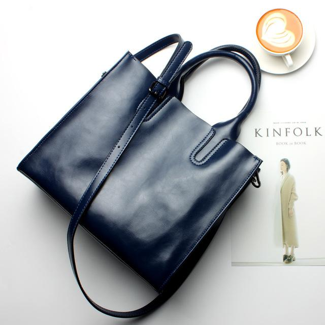 Women Blue Tote Crossbody Messenger Genuine Leather Bag