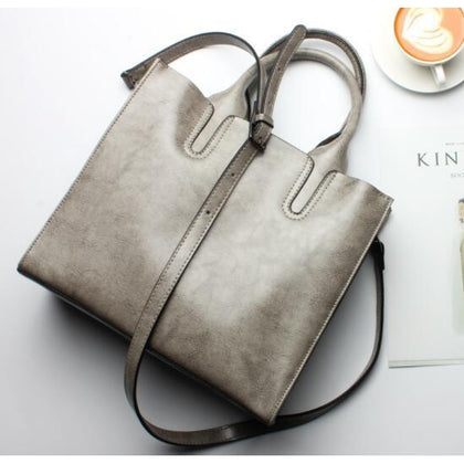 Women Grey Tote Crossbody Messenger Genuine Leather Bag