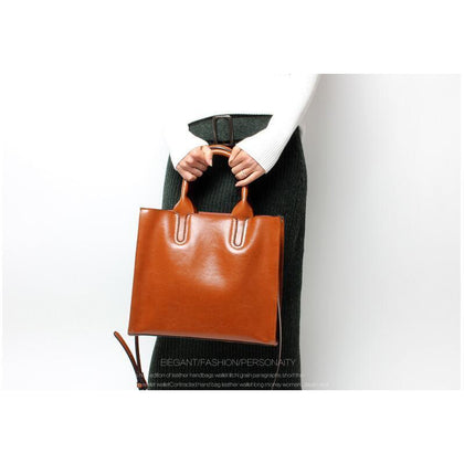 Women Brown Tote Crossbody Messenger Genuine Leather Bag Front View