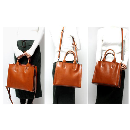 Women Brown Tote Crossbody Messenger Genuine Leather Bag Front Side Back View