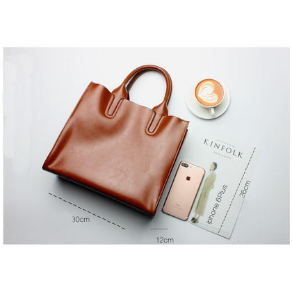 Women Brown Tote Crossbody Messenger Genuine Leather Bag Dimensions 30cm x 26cm x 12cm