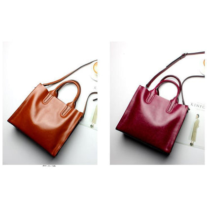 Women Brown Red Tote Crossbody Messenger Genuine Leather Bag