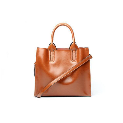Women Brown Tote Crossbody Messenger Genuine Leather Bag View
